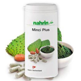 Минки плюс, пищевая добавка с волокнистыми веществами кактуса, спирулиной и хромом для снижения веса (31,6 г/80 капсул).